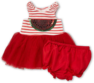 Pippa Pastourelle By & Julie (Infant Girls) Two-Piece Sequin Watermelon Tutu Dress & Bloomers Set