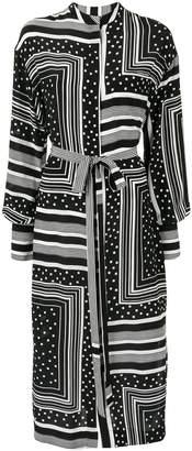 Co mixed print shirt dress