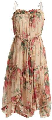 Zimmermann Laelia Floral Print Silk Dress - Womens - Cream Multi