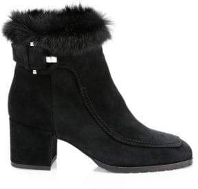 Aquatalia Charlize Rabbit Fur-Trim & Shearling-Lined Suede Ankle Boots