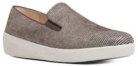 FitFlop Superskate TM Lizard-Printed Suede Loafers