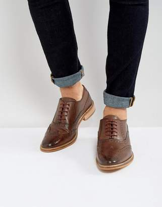 Asos DESIGN brogue shoes in brown leather with natural sole
