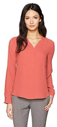 Nine West Women's Long Sleeve Solid Crepe 2 Pocket Blouse (2)