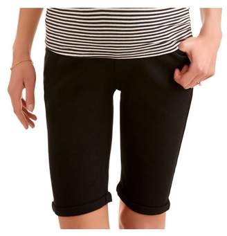 Oh! Mamma Maternity Full Panel Twill Bermuda Shorts with 5 Pockets and Roll Cuffs--Available In Plus Size