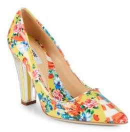 Moschino Transparent Heel Floral Leather Pumps