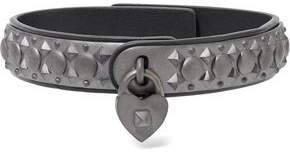 Valentino Gunmetal-Tone Leather Choker