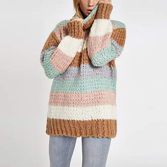 River Island Womens Brown knit stripe oversized roll neck jumper