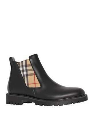 Burberry Men's Leather Chelsea Boots with Archival Vintage Check Side Panels