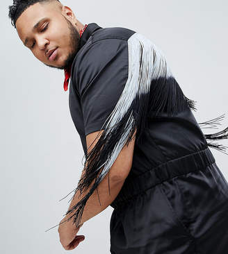 Asos DESIGN Plus Festival Slim Boilersuit With Fringing In Black