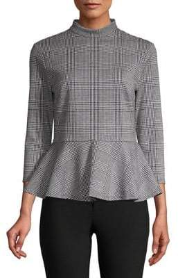 Lord & Taylor Highneck Glen Plaid Peplum Top
