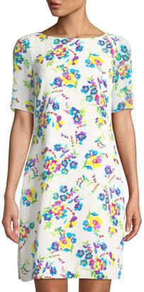 Karl Lagerfeld Paris Floral-Print Sheer-Sleeve Shift Dress