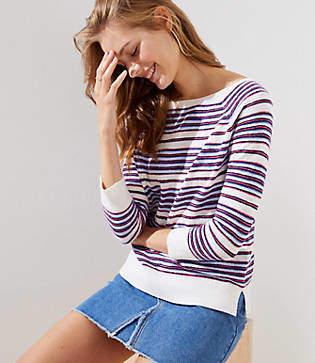 LOFT Petite Striped 3/4 Sleeve Sweater