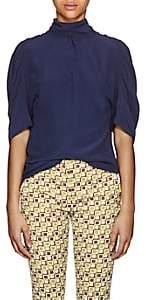 Prada Women's Silk Tieneck Blouse - Navy