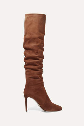 Prada 100 Suede Knee Boots - Brown