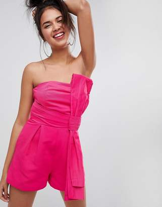 Asos DESIGN Romper in Structured Fabric with Knot and Drape Detail
