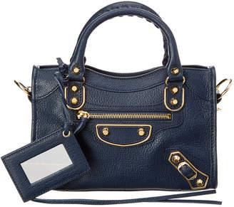 At Rue La Balenciaga Classic Gold Metallic Edge City Mini Leather Shoulder Bag