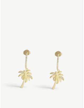 BaubleBar Palma 18ct gold-plated and crystal hoop earrings