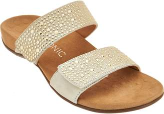 Vionic Leather Gored Slide Sandals - Samoa