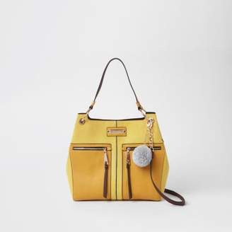 River Island Womens Yellow pocket front slouch bag