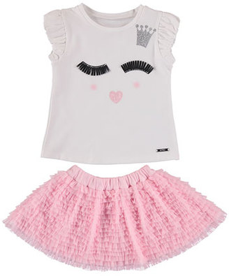 MAYORAL Winky Face Tee w/ Tiered Tulle Ruffle Skirt, Pink, Size 3-7 $56 thestylecure.com