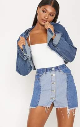 PrettyLittleThing Mid Wash Two Tone Button Through Denim Skirt