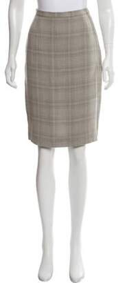 Giorgio Armani Plaid Knee-Length Skirt Grey Plaid Knee-Length Skirt