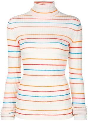 Nude striped turtleneck sweater