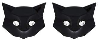 Miu Miu - Cat Crystal Embellished Earrings - Womens - Black