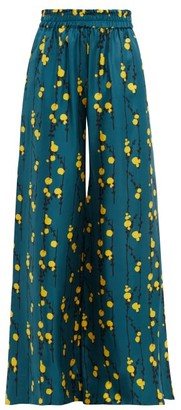 La DoubleJ Wide Leg Floral Print Silk Trousers - Womens - Green Print