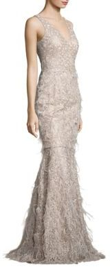 David Meister Metallic Embroidered Lace & Feather Gown $895 thestylecure.com