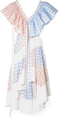 Loewe Convertible Cutout Twill And Gingham Poplin Dress - Blush