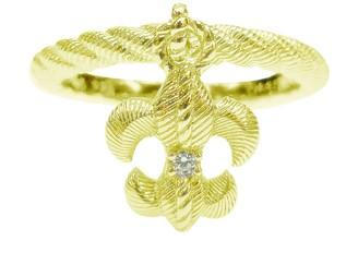 Judith Ripka 14K Clad Fleur-De-Lis Charm Ring