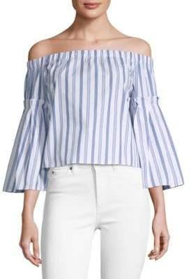 Parker Stripe Bell-Sleeve Cotton Top
