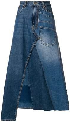 Loewe denim patchwork midi skirt