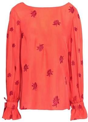 Cinq à Sept Lyla Embroidered Silk Crepe De Chine Blouse