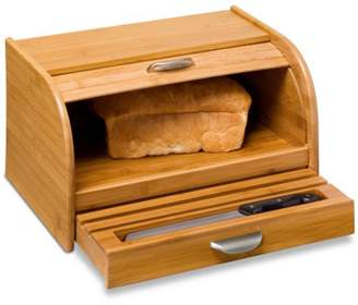 Honey-Can-Do Bamboo Bread Box with Roll-Top Cover and Cutting Board