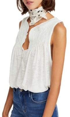 Free People New To Town Cotton Linen Tank Top