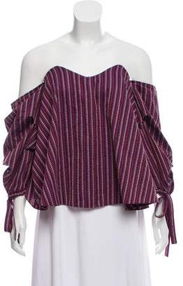 Caroline Constas Off-the-Shoulder Jacquard Blouse