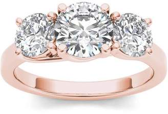 Imperial Diamond Imperial 2 Carat T.W. Diamond Three-Stone 14kt Rose Gold Engagement Ring