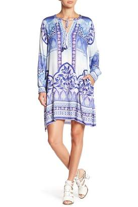 Hale Bob Patterned Split Neck Dress