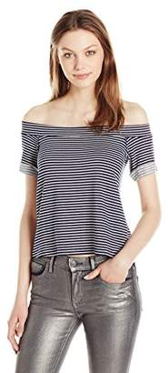 Michael Stars Women's French Terry Stripe Off The Shoulder Sweatshirt