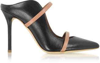 e4081f1e77a Malone Souliers By Roy Luwolt Maureen Black and Nude Nappa Leather High  Heel Mules