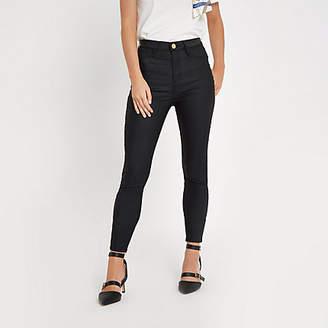 baa0582f66084 River Island Petite black Harper high rise coated jeans