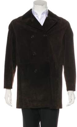 Prada Double-Breasted Suede Coat
