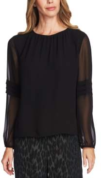 Vince Camuto Pleated-Sleeve Blouse