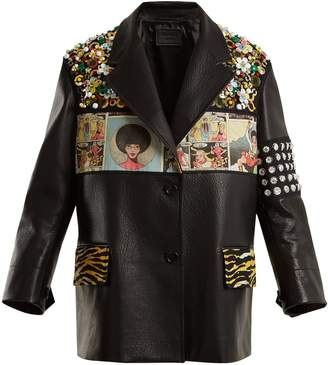 Prada Contrast-panel embellished leather jacket