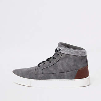 River Island Grey wide fit high top sneakers