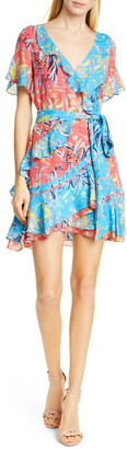 Tanya Taylor Bianka Two-Tone Floral Print Silk Minidress
