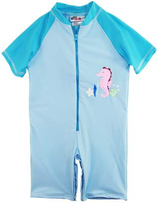 Sweet & Soft Little Girls Seahorse Short Sleeve One Piece Swim Rashguard, Blue