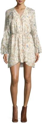 Haute Hippie Romani Floral-Print Silk Ruffle Dress